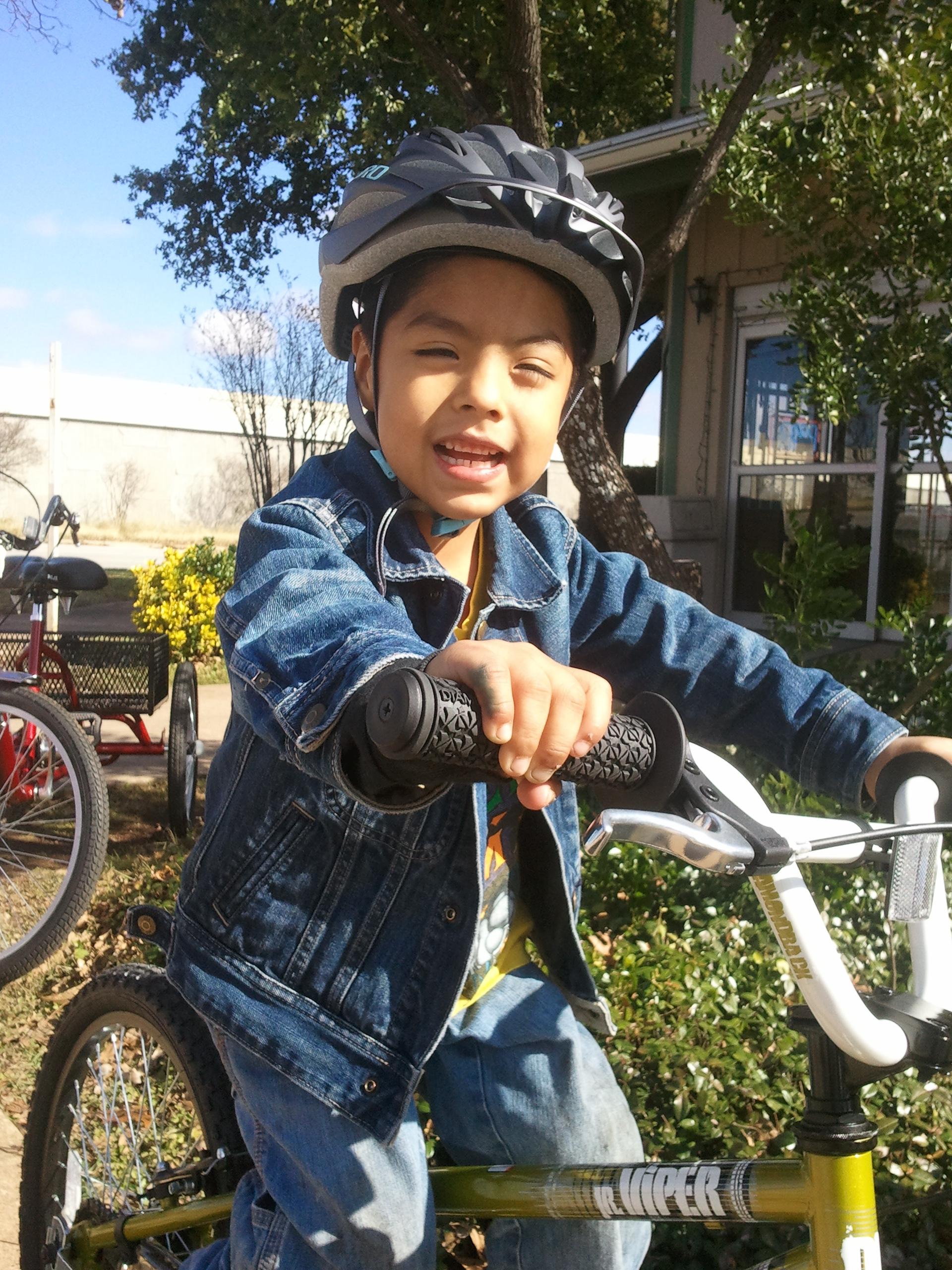 Boy and Bike charity corporate charity bike build team building